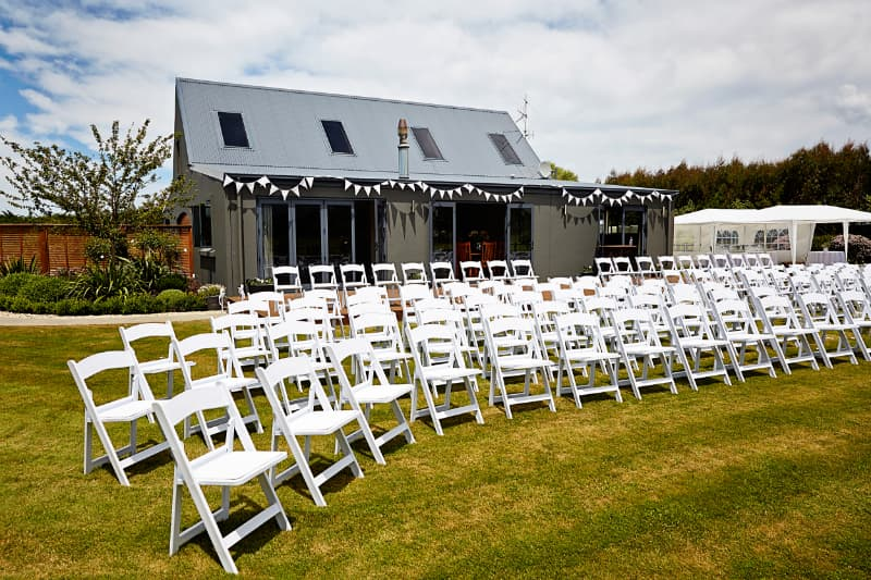 An outdoor setting with a marquee